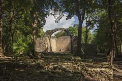 old chapel, oxtankah (ikarusmedia) Tags: old chapel church oxtankha calderitas chetumal quintana roo mexico ruins ancient colonial brick rocks rainforest trees clouds blue sky maya archeological site