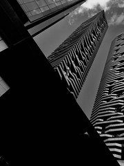 Sky touching tower helps you walk through the skies (new_rose_1993) Tags: neverlands wonderlands blackandwhite urbandesign streetscape skyline sky modernarchitecture tower architecture twin beautifulcanada harborfront downtown canada toronto