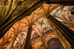 The Columns Reach (henriksundholm.com) Tags: church cathedral medieval interior architecture building columns arcade vault instrument organ gallery archs hdr barcelona spain espana catalonia