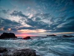 Godrevy Moods (Timothy Gilbert) Tags: lighthouse wideangle sunset godrevy lumix laowacompactdreamer75mmf20 rocks gwithian beach m43 microfourthirds ultrawide microfournerds waves gx8 coast panasonic cornwall