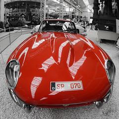 Jaguar E-Type. (wimjee) Tags: nikond7200 d7200 speyer germany duitsland technikmuseum technik museum samyang8mm35csii jaguar car classic auto klassiek fisheye niksoftware silverefexpro2 selectivecolor red etype