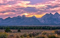 Sunset over the Tetons (Redbird310) Tags: grandtetonnationalpark mountains nature nikon wyoming peaks trees sky sunset landscape clouds