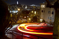 Cars going down Lombard Street at night (San Diego Shooter) Tags: sanfrancisco lombardstreet lombardstreetatnight longexposure street night cityscape landscape california cool uncool uncool2 uncool3 uncool4 uncool5 uncool6 uncool7
