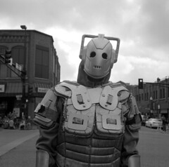 Cyberman (kaumpphoto) Tags: rolleiflex tlr 120 ilford bw black white street urban city costume halloween robot scifi sky creative homemade october who