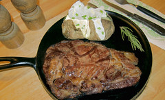 Best_Eye-QQ (Guyser1) Tags: food steak meat ribeyesteak potato bakedpotato westyellowstone canonpowershots95 pointandshoot