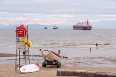 Third Beach and Bulk Carriers (MIKOFOX ⌘ The Purge IS Wrong!) Tags: canada lifeguard mikofox britishcolumbia sand water xt2 vancouver learnfromexif july freighter provia beach fujifilmxt2 dinghy people showyourexif summer xf18135mmf3556rlmoiswr