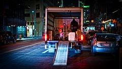 Late delivery (Jim Nix / Nomadic Pursuits) Tags: austin truck delivery night texas downtown street luminar skylum cityscape sony sonya7ii 50mm primelens
