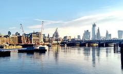 The River Thames (laurapage839) Tags: riverthames london city skyline sky bridge cranes boats