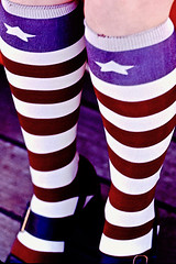 Star and Stripes (fillzees) Tags: socks stockings stripes star leg candid girl woman greece deck ελλάσ ελλάδα tourist red white blue knee shoe pattern design colorful bright