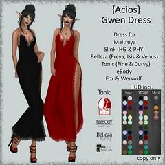 {Acios} Gwen Dress AD ([Acios}) Tags: secondlife dress formal elegant maitreya slink belleza lace slit fashion