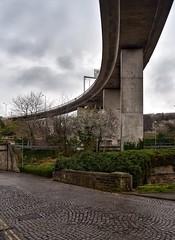 Ancient and Modern (Mr_Pudd) Tags: roadsign road concrete a58 flyover bridge granitesets granitecobbles sets cobbles westyorkshire deanclough halifax oldlane burdockway afsvrzoomnikkor2485mmf3545gifed nikond750afsvrzoomnikkor2485mmf3545gifed nikon nikond750
