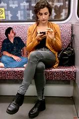 Public Transit (iggy62pop2) Tags: giantess sexy shrinkingman babe boots upskirt minigiantess milf wife tallwoman heightcomparison jeans subway bus people pretty