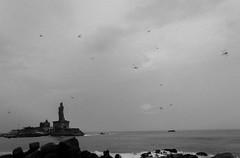 Kanyakumari | 2018. (Vijayaraj PS) Tags: india asia incredibleindia outdoor sky iamnikon travel 2018 contemporaryphotography landscape clouds field sea beach water wave blackandwhite monochrome indianocean kanyakumari
