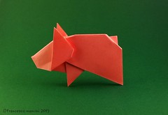 Year of the Pig (mancinerie) Tags: origami papiroflexia paperfolding papierfalten carta francescomancini mancinerie pig origamipig yearofthepig cartapiegata paperart papercrraft