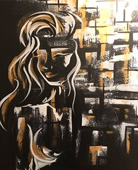 Painting 1 (dhdyksterhouse) Tags: woman women paint painting acrylic acrylicpainting abstract art artist figure empowerment empowering gold black whiteandgold blur strength nude