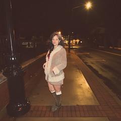 Night walk (7austins) Tags: wife mom momof5 woman beauty brunette grey boots street wet