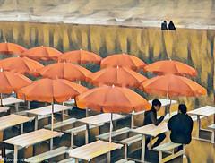 Beach Buddies (Lemon~art) Tags: beach sea umbrella cafe seaside friends manipulation tables