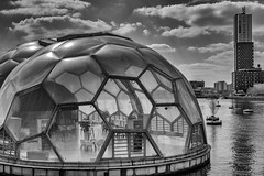 The Floating Pavilion in Rotterdam - The Netherlands (Jan Wildeboer) Tags: 27mm monochrome fuji rotterdam floatingpavilion