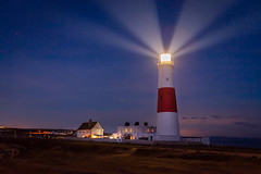 Portland Bill Lighthouse at Night (John French 108) Tags: portlandbill lighthouse night longexposure stars nightsky beams red stripes light eacon beacon architecture tower outdoors landscape buildings coast dorset isleofportland nocturnal england