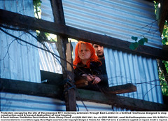 "1062-1017 Claremont M11 Protest (hoffman) Tags: young corrugatediron dyedhair female hair horizontal lady occupation protest red resistance road timber treehouse woman youth london uk davidhoffman davidhoffmanphotolibrary socialissues reportage stockphotos""stock photostock photography"" stockphotographs""documentarywwwhoffmanphotoscom copyright"