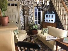 All is quiet (Foxy Belle) Tags: dollhouse doll house 112 simplicity real good toys living room black tan cream furniture window wooden scale miniature sofa chair newspaper plant book dog