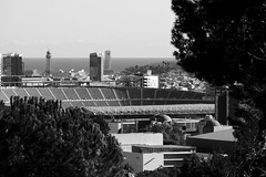 El Camp Nou - Des del Parc de Cervantes (Fnikos) Tags: parc park parque parco tree nature sky cielo sea mar mare water building tower architecture construction mountain hill stadium estadio football fútbol soccer barcelona blackandwhite monochrome outdoor