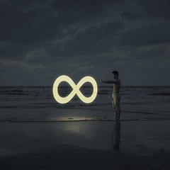 Infinity (Adam Hague) Tags: yellow infinity infinite phlearn selfportrait beach light night glow emotion 50mm feelings