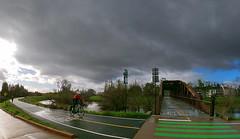 Guadalupe River Trail @ River Oaks Bridge (Richard Masoner / Cyclelicious) Tags: bike bikepath bicycletrail biketrail grt sanjose guadaluperivertrail cycling cyclist bicycle siliconvalley clouds rainy rain wetpavement greenstripes