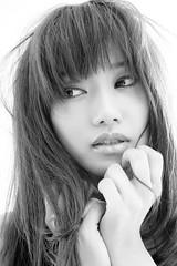 Portrait in studio / Miho (HarQ Photography) Tags: monochrome blackandwhite portrait model sony a900 sigma 50mmf14 studio