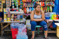 Saleslady (Beegee49) Tags: street woman filipina sales lady snacks happy planet luminar sony a6000 bacolod city philippines asia
