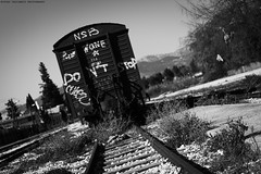 Abandoned train / Εγκαταλειμμένο τρένο (kostavita) Tags: train abandonedtrains abandonedtrain bw blackandwhitephotos blackandwhitegreece blackandwhite τρένο ασπρόμαυρο ασπρόμαυρηφωτογραφία ασπρόμαυρη