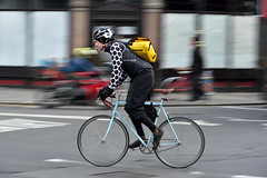Polka dots and yellow (jeremyhughes) Tags: london cyclist cycling fixie fixedwheel fixedgear trackbike urban city street panning speed movement motion dots polkadots yellow messengerbag courierbag blackandwhite nikon d750 nikkor bike bicyle biker