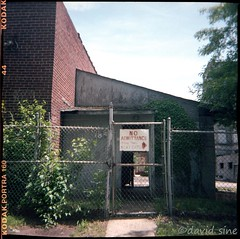 (david sine) Tags: rahway nj newjersey old factory fence building stuff things duaflex plastic camera mediumformat120 color kodak portra film scannednegative