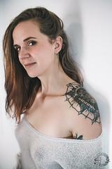 Julia (C.Syl20) Tags: julia manualfocus shooting sonya7rmkii syl20photographeaveyron belle cheveuxlongs décolleté femme modèle nikkor352ais pull sexy shoulder tatoo tatouage transparancy épaule