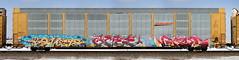 Kovet/Acee/Groe (quiet-silence) Tags: graffiti graff freight fr8 train railroad railcar art kovet acee groe rtd ctw ba syw railheads autorack bnsf ttgx967111