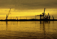 The port and cranes... (irio.jyske) Tags: transport travel travelscape travelpic travelphotos travelphotographer travelphotograph transportation port harbour sea opensea water seascape landscapes landscapephotographer landscapephotos lakescape landscapepic lanscape landscapepics landscapephotograph landscape photographer photograph photos picture beauty beautiful colorful colors reflection clouds cranes nice