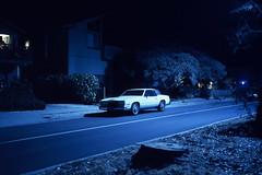 (patrickjoust) Tags: fujica gw690 kodak ektachrome 64t 6x9 medium format 120 rangefinder 90mm f35 fujinon lens chrome slide e6 color reversal expired tungsten balanced discontinued film cable release tripod long exposure night after dark manual focus analog mechanical patrick joust patrickjoust california coast ca usa us united states north america estados unidos blue white car auto automobile vehicle parked santa cruz