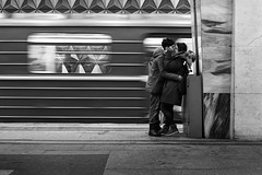 Nothing else matters (_storysofar_) Tags: streetphotography people love kiss boy girl train platform station underground subway moscow russia blackandwhite monochrome fujifilm