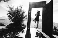 Happy International Women's Day~ there is no stopping us! (~mimo~) Tags: lake door shadow woman blackandwhite womenpower europe montreux switzerland jump womenempoweringwomen women women'sday international