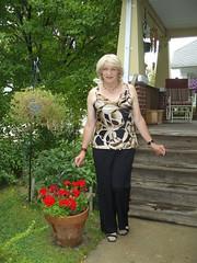Why Do I Like To Dress En Femme? (Laurette Victoria) Tags: porch laurette woman pants animalprint blonde