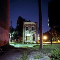 (patrickjoust) Tags: mamiya c330 s sekor 80mm f28 fujichrome t64 tlr twin lens reflex 120 6x6 medium format fuji chrome slide e6 color reversal expired tungsten balanced film cable release tripod long exposure night after dark manual focus analog mechanical patrick joust patrickjoust baltimore maryland md usa us united states north america estados unidos urban street city alley row house home abandoned vacant empty formstone