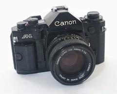 Canon A-1 (Japon, 1978 - ?) (Cletus Awreetus) Tags: appareilphotographique camera canon a1 reflex slr objectif lens canonfd1450 format135 blackcamera