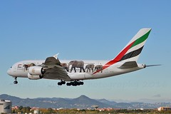 """Emirates Airlines A6-EEI Airbus A380-861 cn/123 Special """"Unite for Wildlife"""" c/s applied Nov 2015 - Feb 2018 @ LEBL / BCN 07-11-2016 (Nabil Molinari Photography) Tags: emirates airlines a6eei airbus a380861 cn123 special uniteforwildlife cs applied nov 2015 feb 2018 lebl bcn 07112016"""