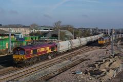66129 06-04-19 (IanL2) Tags: dbcargo class66 66129 wellingborough northamptonshire railways trains mml gbrf 66767