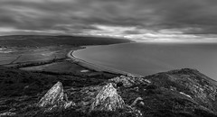 Exmoor Coastline (PKpics1) Tags: coast coastline england exmoor somerset beach bossington porlock northhill sky clouds sea water rock rocks grass fields seaside high longexposure blackandwhite black white bw cloudy cloudyday seascape
