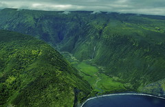 Waipio Valley (ArmyJacket) Tags: hawaii hawaiianislands usa bigisland waipiovalley waipio blacksandbeach valley mountains jungle waterfalls ocean helicopter aerial travel