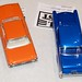 1961, 62 or 63 Ford Thunderbird orange over white interior, 57 Chevy blue over blue DSC_0355 0372(1)