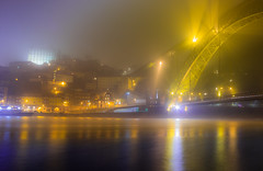 Mist at midnight (snowyturner) Tags: porto fog mist portugal river douro bridge luis buildings night evening landscape city
