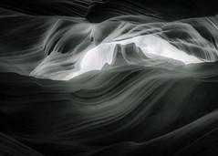 Sandstone Monument - Toned B&W (byron bauer) Tags: byronbauer blackwhite duotone navajo sandstone slot canyon wall page arizona texture rock wind water erosion sediment filtered light american southwest aoi elitegalleryaoi bestcapturesaoi