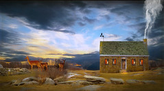 House On The Hill At Sunset (jarr1520) Tags: landscape outdoor sky clouds sunset beautiful beauty deer animals composite textured hill rocks house home smoke